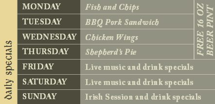 boulder daily specials Irish Pub Specials
